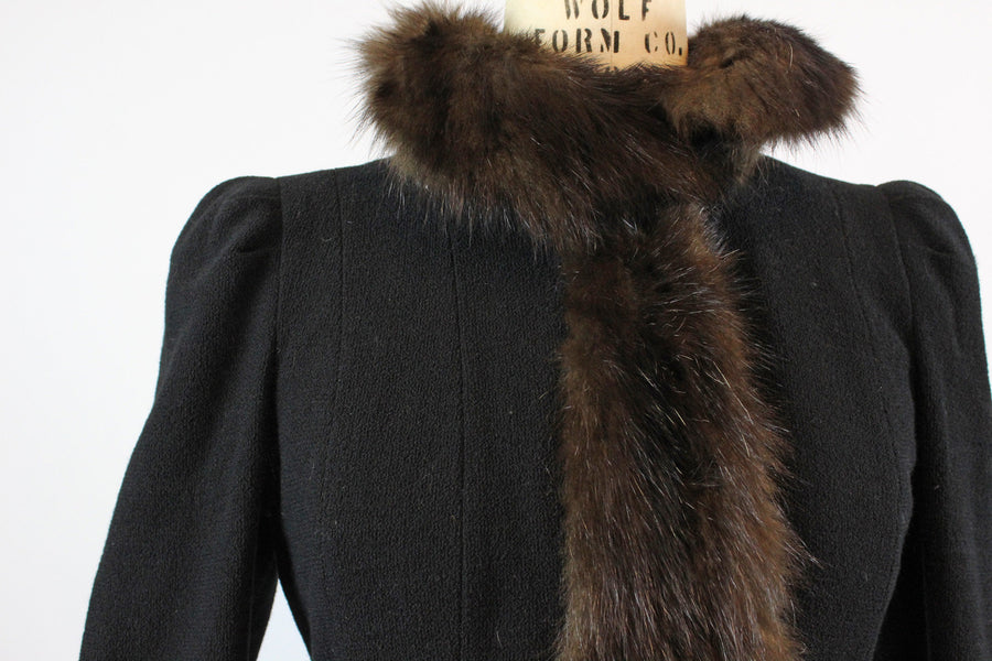 1930s wool and FUR wrap COAT medium | new fall