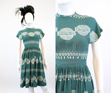 1940s TROMP L'OEIL print TASSEL trim dress xxs | new fall