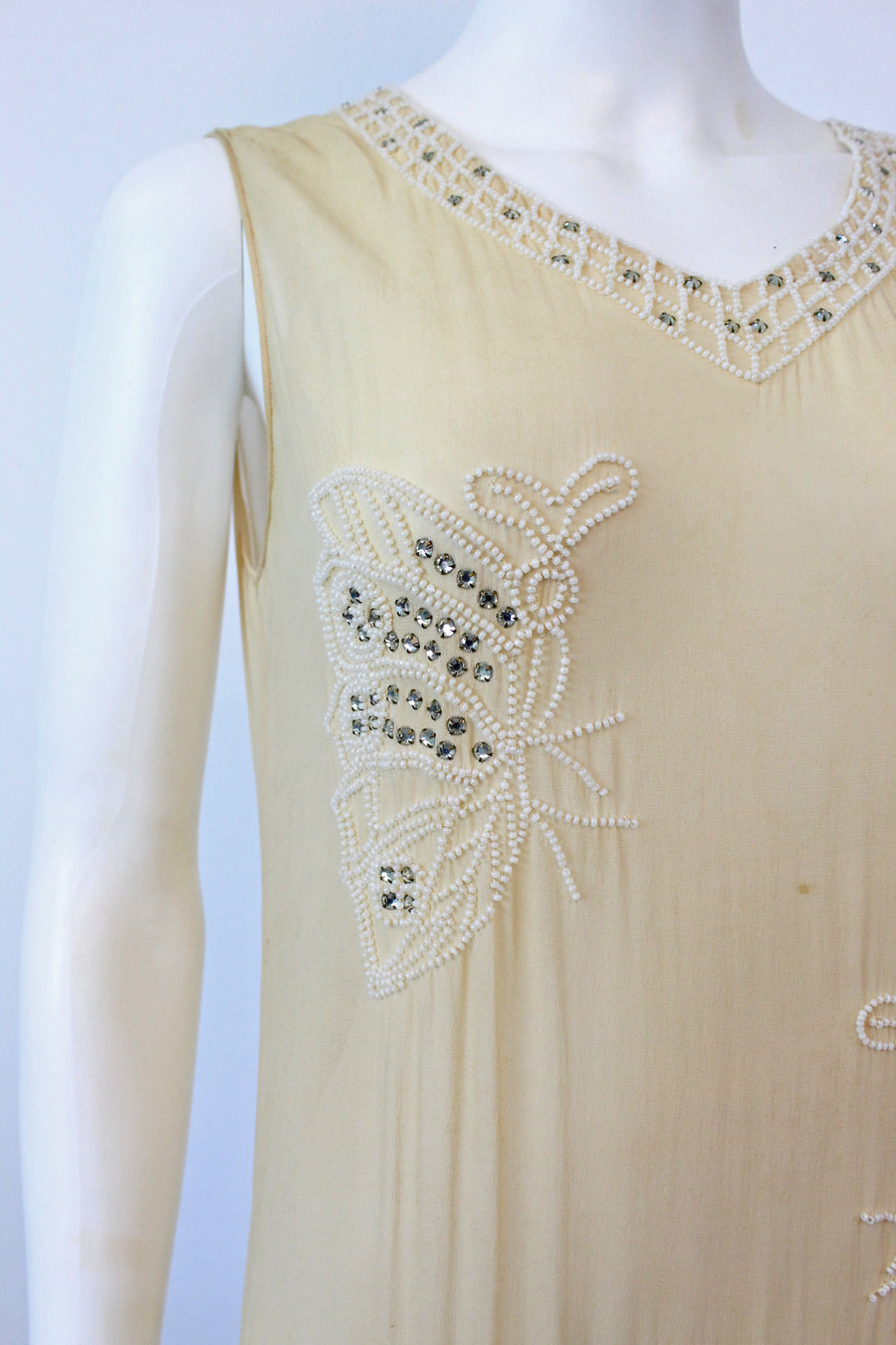 1920s rare BUTTERFLY beaded RHINESTONE dress small | new fall