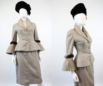 1950s Lilli Ann TWEED and MINK suit xs | new fall