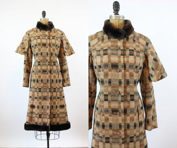 1970s CAPE tweed LONG coat small | new fall