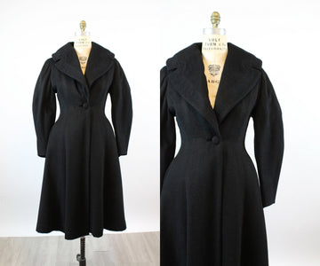 1950s wool PRINCESS coat medium BALLOON sleeves | new fall