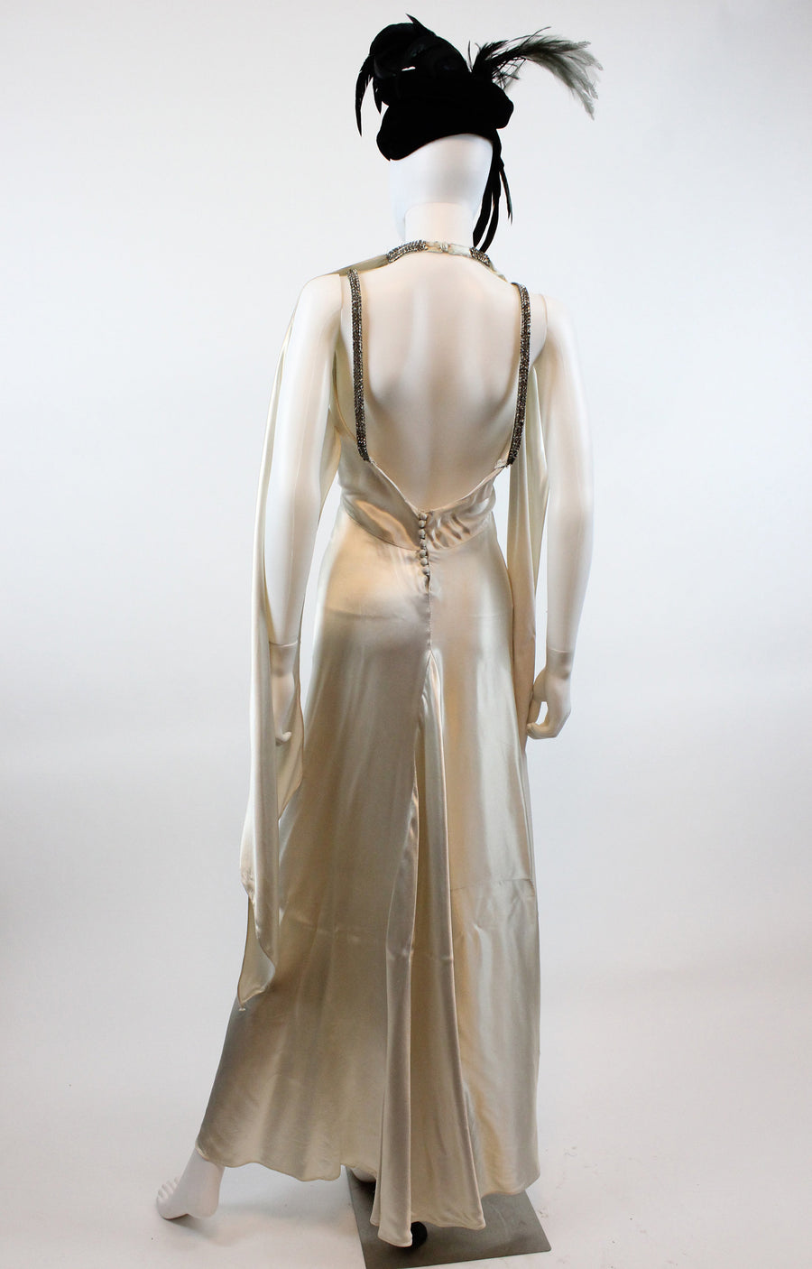 1930s HOOD scarf RHINESTONE dress gown xs  | new fall