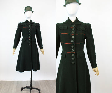 1930s 1940s GREEN boucle military coat xs | new fall