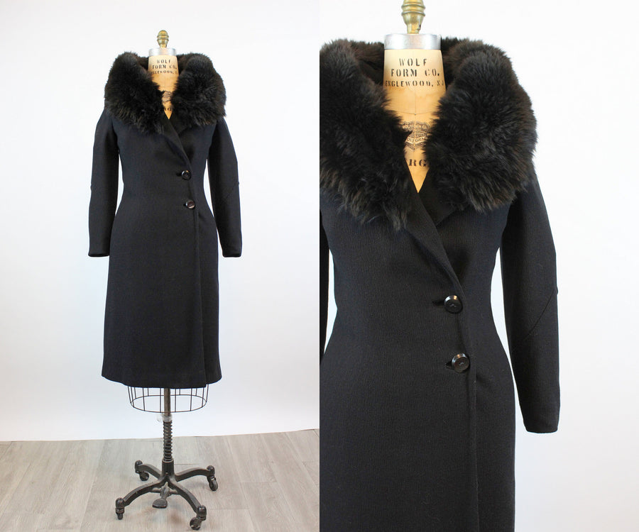1930s HUGE fur COLLAR wool crepe small | new fall