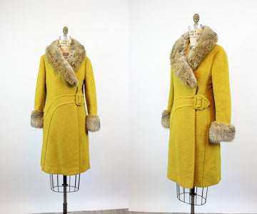 1960s CHARTREUSE fur collar coat medium | new fall