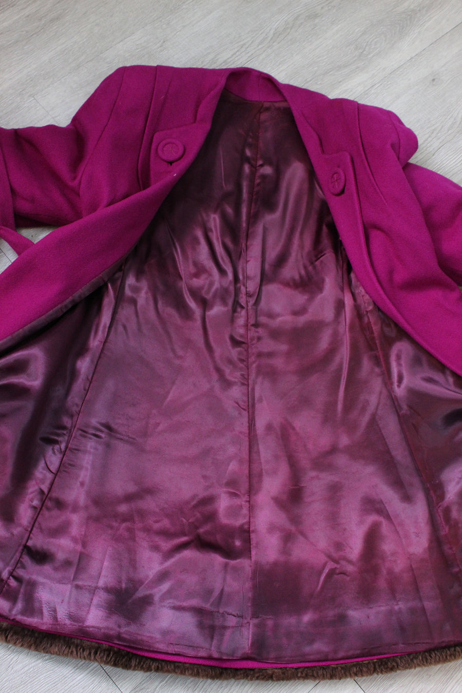 1940s MAGENTA fur coat jacket small medium | new fall