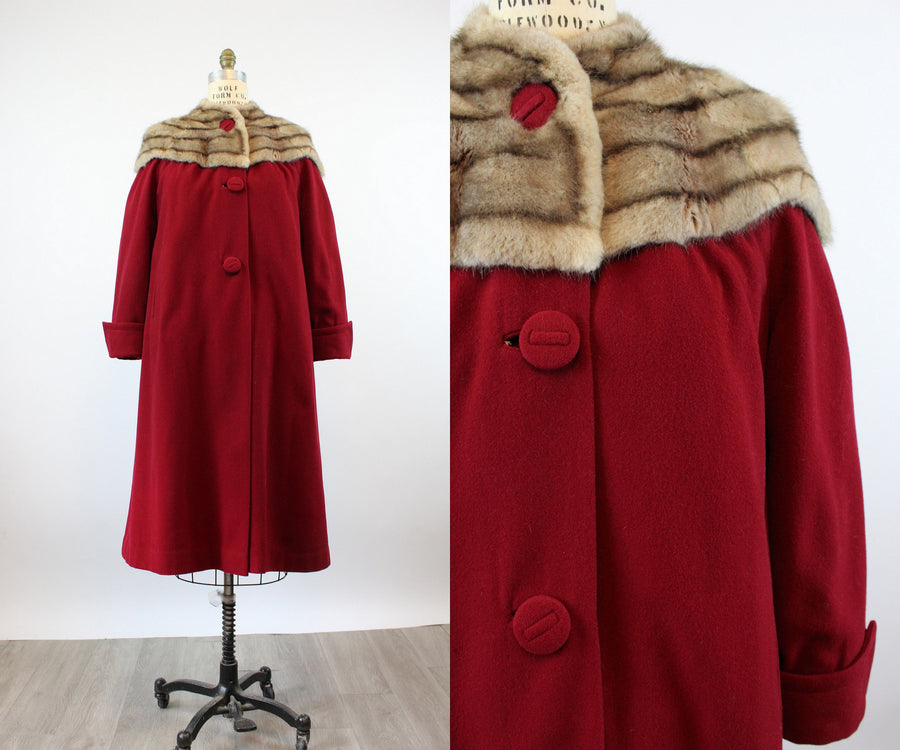 1940s FUR COLLAR swing RED coat large | new fall
