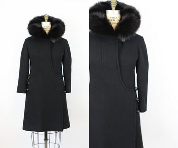 1960s fur collar coat small medium | new fall
