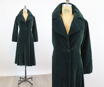 1950s EMERALD velvet princess coat small | new fall