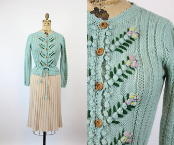 1970s does 1940s knit tyrolean FOLK CARDIGAN xs | new knitwear