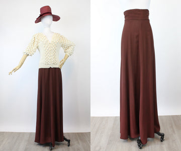 1970s rare OSSIE CLARK wine jersey maxi skirt xs | new spring
