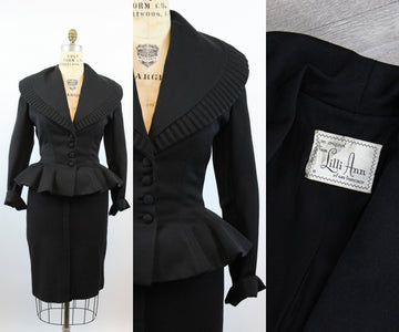 1950s Lilli Ann FIT AND FLARE peplum jacket large | new fall