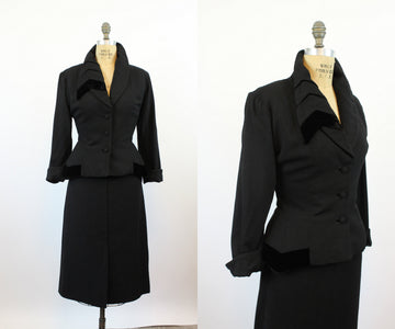 1950s Lilli Ann ASYMMETRICAL LAPELS velvet jacket medium | new fall