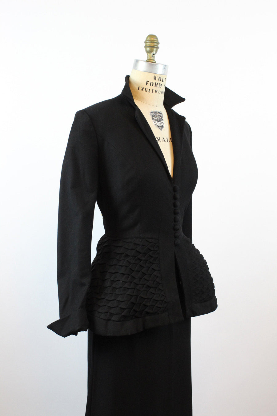 1950s unlabeled Lilli Ann wool QUILTED peplum jacket medium | new fall