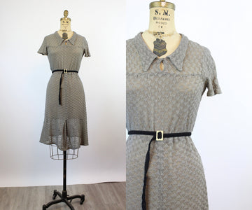 1930s POINTELLE knit dress small | new knitwear