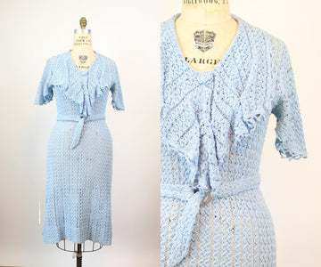 1920s 1930s CROCHET knit dress large volup | new knitwear