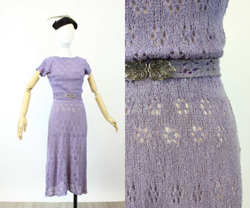1940s LILAC silk rayon KNIT dress small | new knitwear