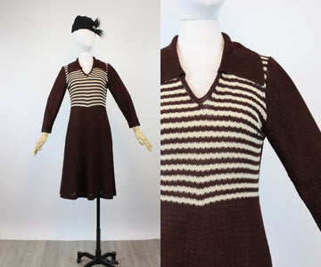 1970s does 1930s knit dress small medium | new knitwear