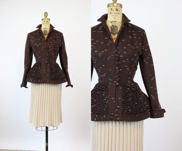 1950s Lilli Ann wool QUILTED peplum jacket small | new fall