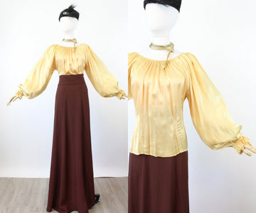 1930s BALLOON SLEEVES silk charmeuse peasant blouse xs small | new fall
