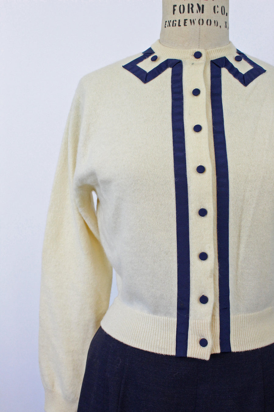 1950s cashmere GROSGRAIN RIBBON cardigan xs small | new knitwear