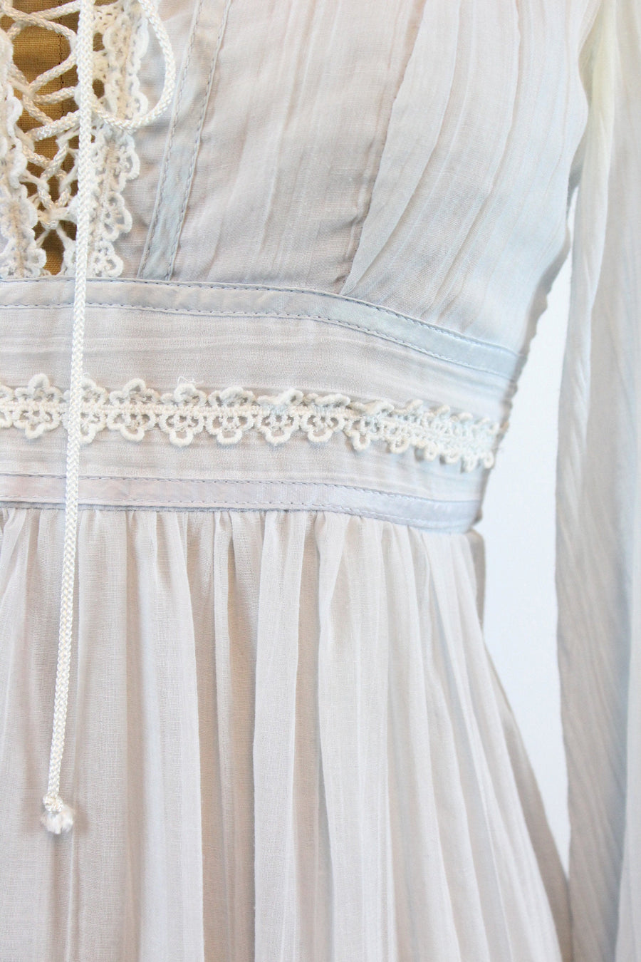 1970s Gunne Sax corset BABY BLUE dress xxs | new spring
