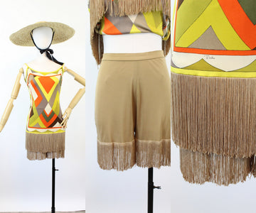 1960s 1970s EMILIO PUCCI mini dress fringe SHORTS xs | new spring