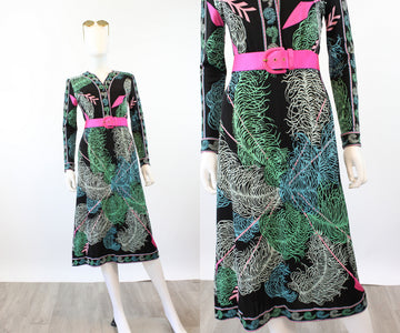 1960s 1970s EMILIO PUCCI feather and arrow print dress small | new spring