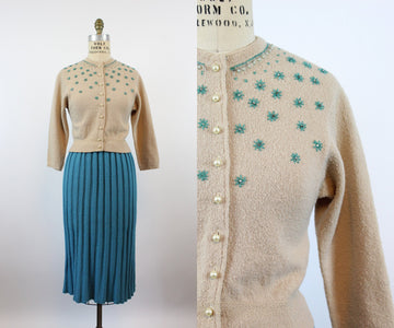 1940s KIMS knit sweater CARDIGAN beads and rhinestones small | new knitwear