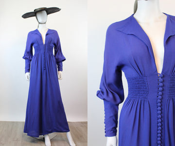 1970s RARE RADLEY Ossie Clark moss crepe maxi dress xs | new spring
