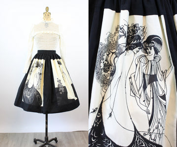 1960s AUBREY BEARDSLEY Isolde print skirt small | new spring