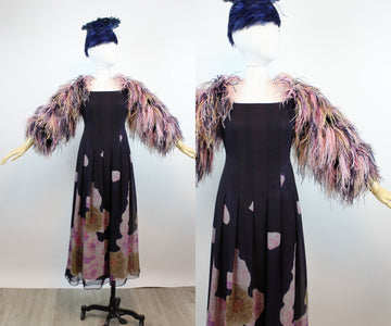1970s FEATHER SLEEVE silk chiffon dress gown medium | new spring OC