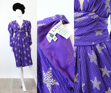 1980s LANVIN silk STAR dress small medium | new spring OC