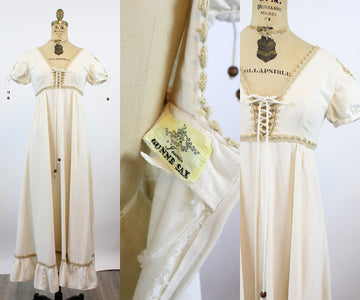 EARLY 1970s Gunne Sax CORSET SLEEVES maxi dress xs | new spring
