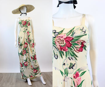 1940s Jourdelle Hollywood FLORAL and SEQUIN rayon dress gown xs | new spring OC