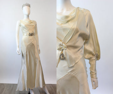 1930s liquid silk WEDDING gown dress and jacket xs small | new spring OC