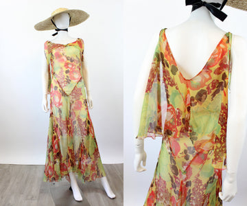 1930s silk FLORAL CAPE dress xs small | new spring OC