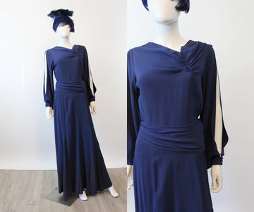 1930s SLIT open sleeves RAYON dress gown medium | new spring OC