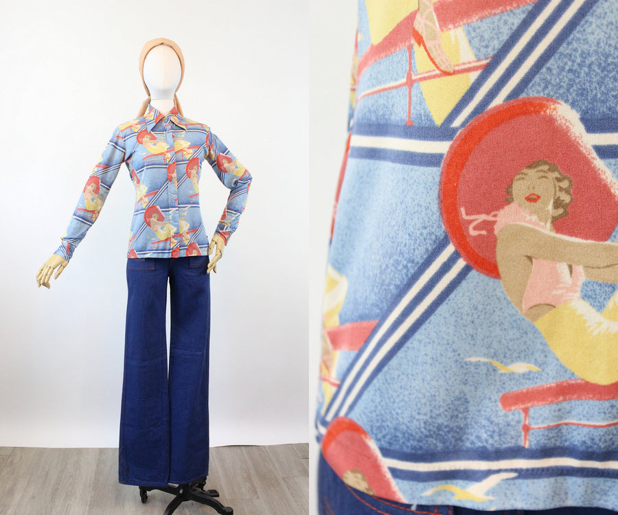 1970s DECO GIRL print shirt small | new spring