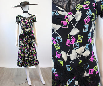 1940s BALLERINA tutus novelty print dress small | new spring