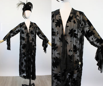 1920s TRUMPET SLEEVES burnout velvet dress large xl volup | new spring OC