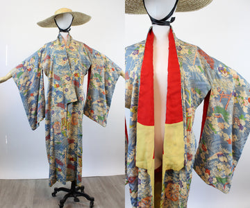 1940s silk KIMONO water lilies small medium large | new spring