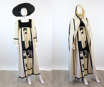 1960s Aubrey Beardsley print dress and HOODED CAPE xs | new spring