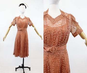 1940s ROSE LACE puff sleeves dress small medium | new spring