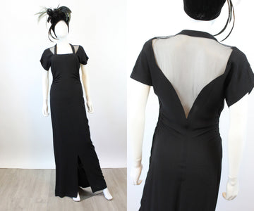 1940s MESH OPEN back gown dress xs small | new spring OC