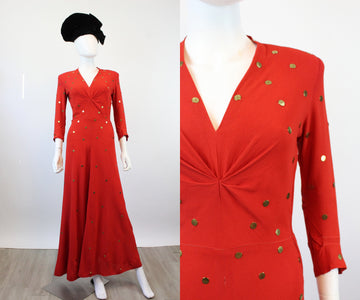 1940s GOLD DISC red rayon gown dress xs | new spring OC