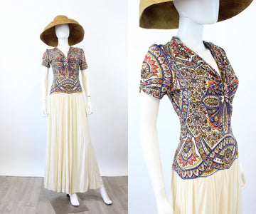 1940s RAYON JERSEY Indian motif gown dress | new spring OC