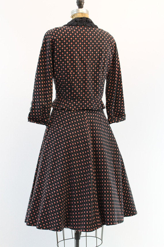 1950s L'Aiglon two piece blouse and skirt small | vintage peplum jacket suit
