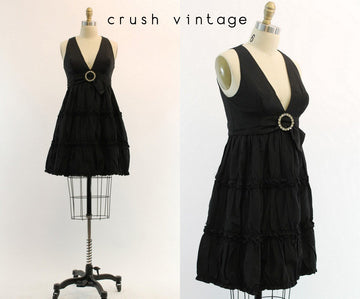 1960s taffeta mini empire plunge mini dress |  xs